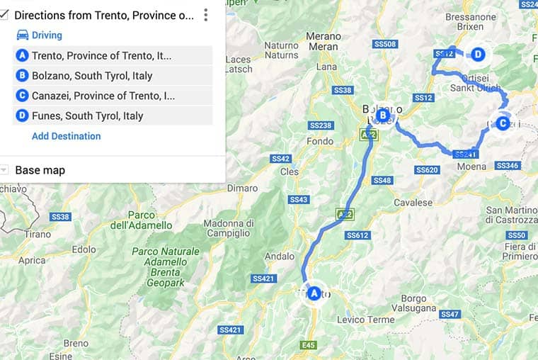 One Day Dolomites Itinerary map and route plan