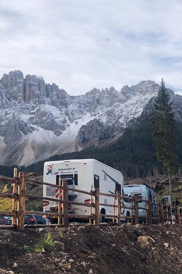 Dolomites travel blog and road trip itinerary- motorhome parking at Lake Carrezza