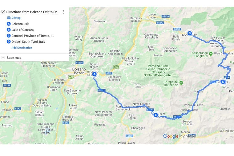 Great Dolomites Road map and route planner- Bolzano to Ortisei via Sella Pass