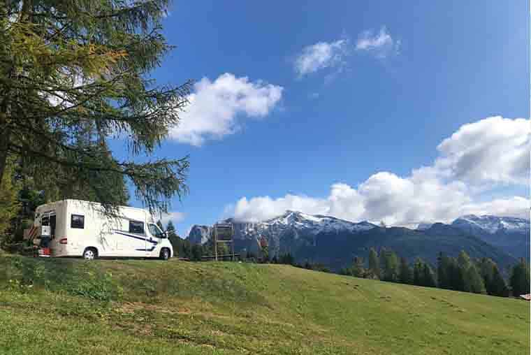 Motorhome parking on the Great Dolomites Road- a perfect lunch spot