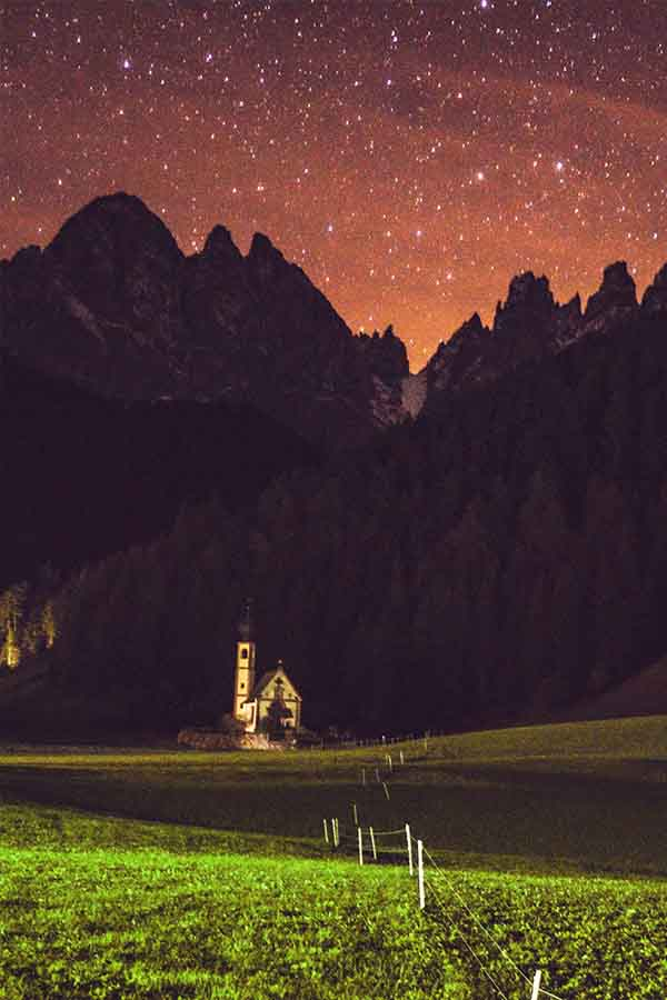 San Giovanni Church Dolomites at night