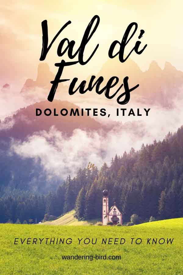 Visiting Val di Funes? Want to photograph Santa Maddalena Church or see the church in the field? Here's everything you need to know | Val di Funes | Dolomites | Santa Maddalena | Italy travel | Val di Funes Italy | Val di Funes Autumn | Val di Funes travel | Val di Funes winter | Dolomites Road trip