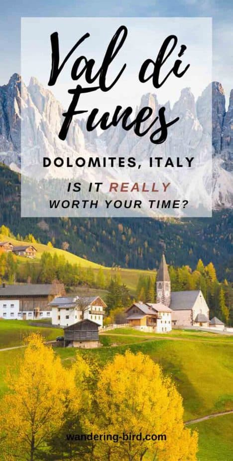 Looking for itinerary and location ideas for the Dolomites, Italy? Only got a few days to travel the Dolomites? Wondering if Val di Funes is REALLY worth your time? Here's everything you need to know | Dolomites | Dolomites Italy Itinerary | Dolomites travel guide | Dolomites tips | Val di Funes travel | Dolomites road trip | Dolomites photography