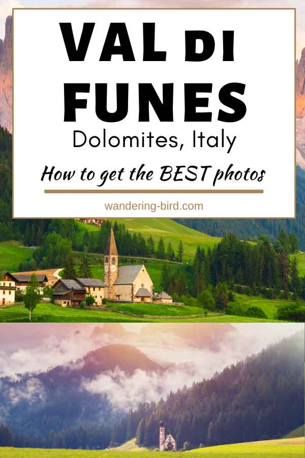 Heading to Val di Funes in the Dolomites? Want to get the best photos of Santa Maddalena Church or St Johanns Church in the valley? Here's the best time of year, best location and best time of day to take photos in Val di Funes | Val di Funes | Dolomites | Val di Funes Italy | Dolomites itinerary | Dolomites travel | Val di Funes autumn | Val di Funes winter
