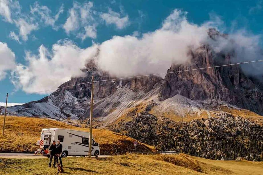 Dolomites with a motorhome