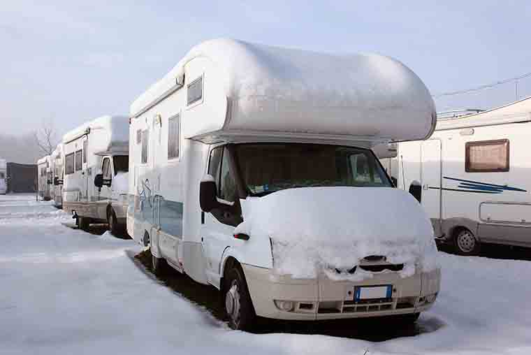 Prepare RV motorhome or campervan for winter storage- winterizing tips for campers and leisure vehicles