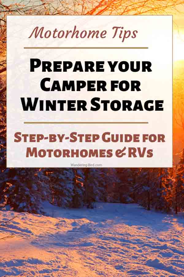 Prepare your camper or motorhome for winter storage. Tips to winterize your RV and steps to drain it down.