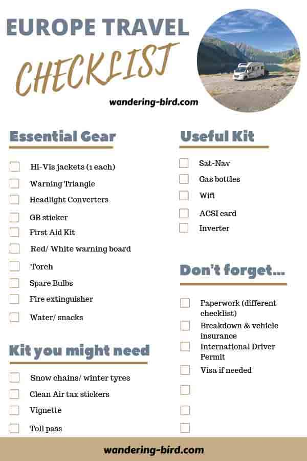 Motorhome travel Europe checklist- free pdf download