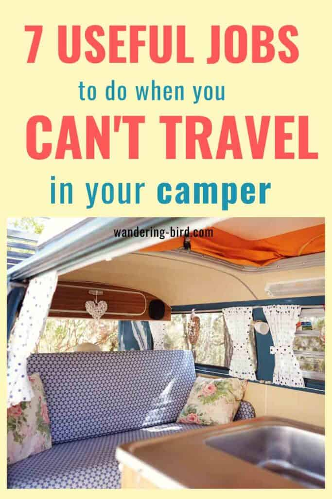 Motorhome ideas and storage organisation tips for campervans, RVs and vanlife. Motorhome ideas and advice for jobs to do when you can't travel.