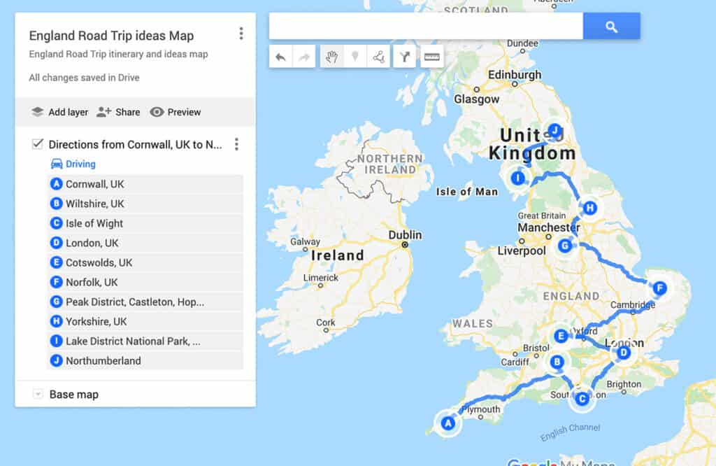 England road trip itinerary ideas and map
