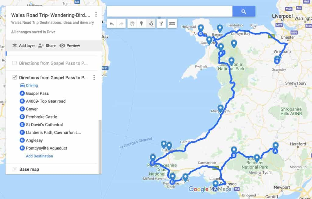 Wales Road Trip Map
