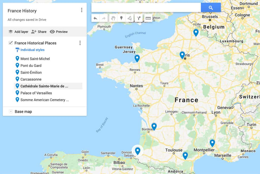 Map of historical places in France