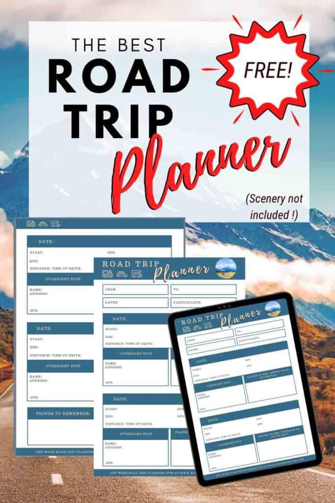 Meilleur planificateur de voyage routier gratuit - planificateur de voyage PDF imprimable