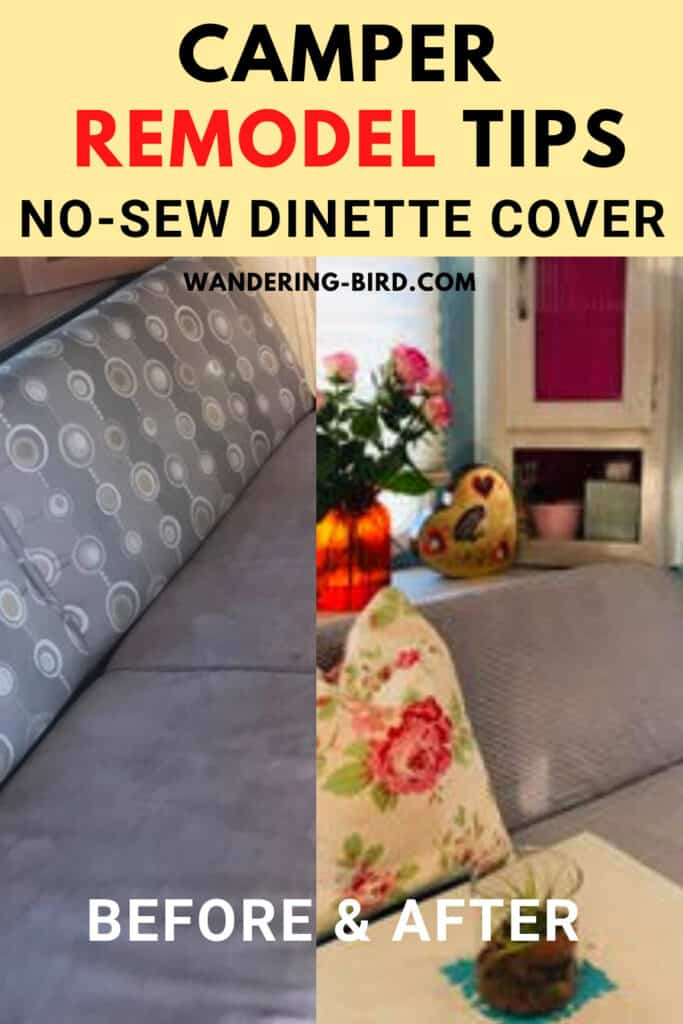 Easy Camper Remodel tips- no sew dinette cover for RV makeover and decor