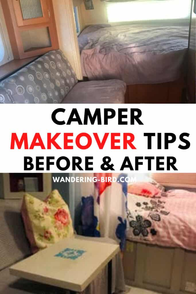 Easy camper makeover tips before and after- RV remodel hacks and ideas