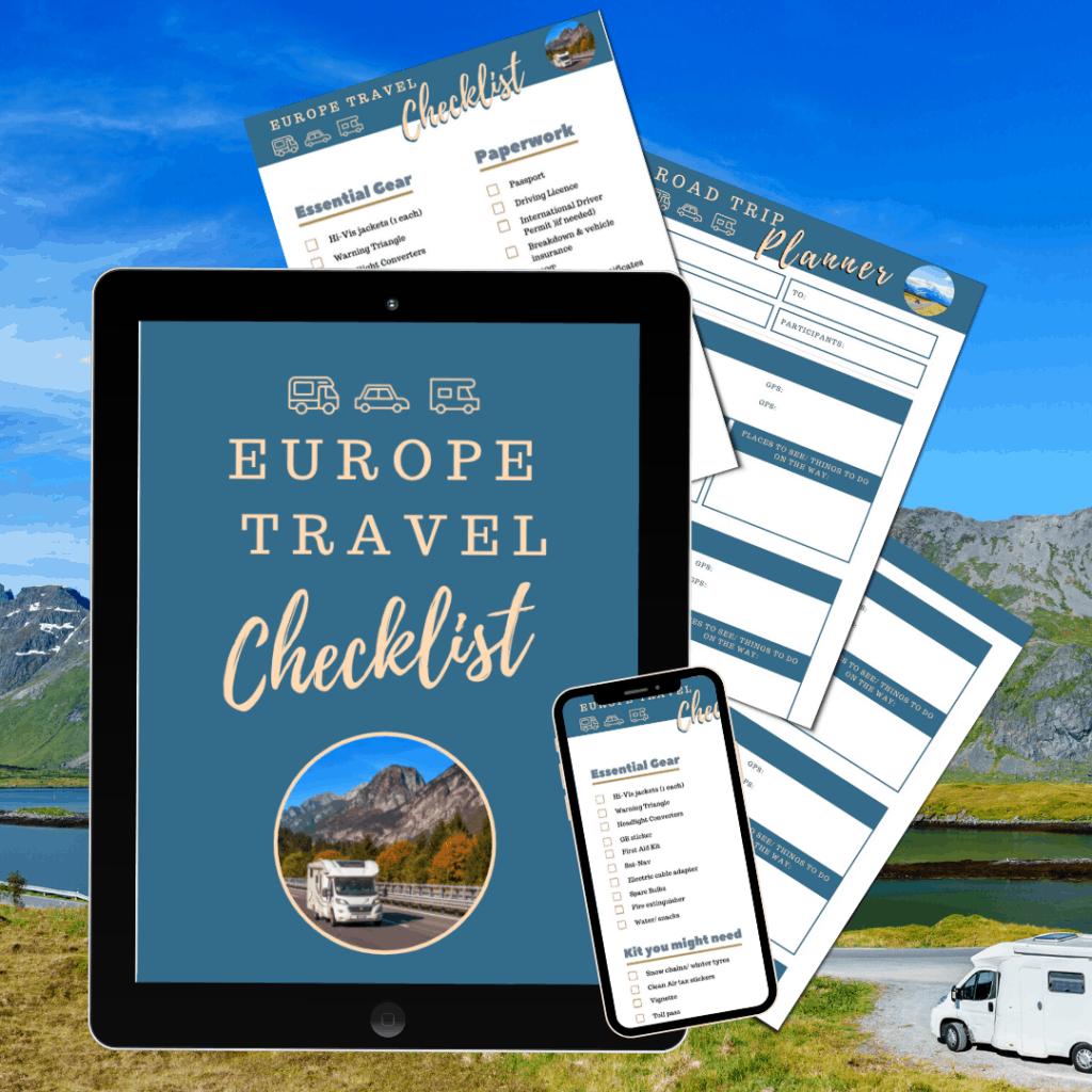Europe Motorhome travel- free checklists