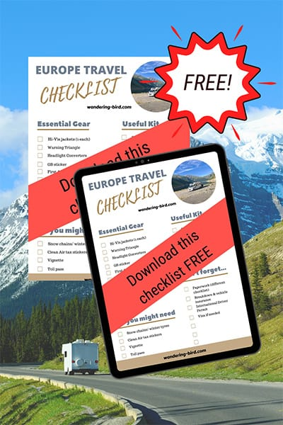 Europe Motorhome Travel Checklist- Motorhome Blog Tips