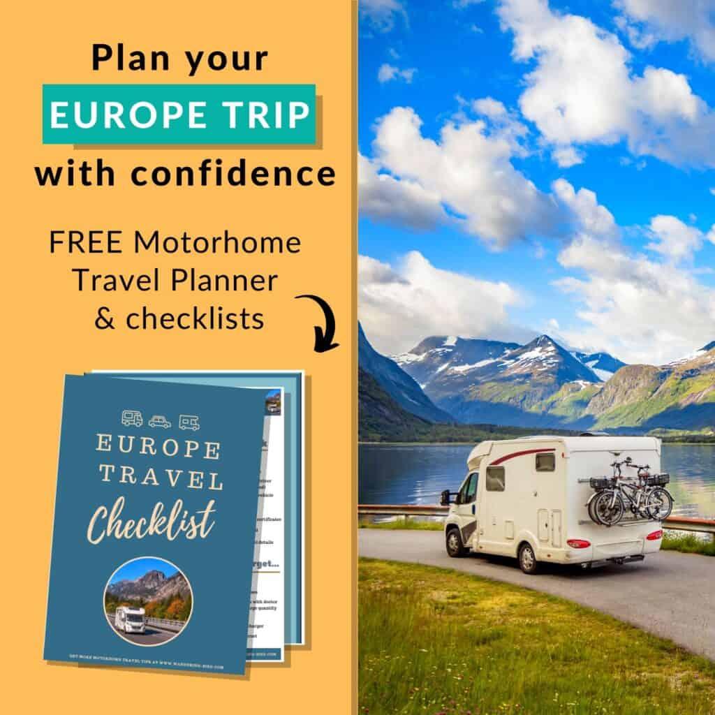 Free Europe Motorhome Travel Checklist & Planner PDF download