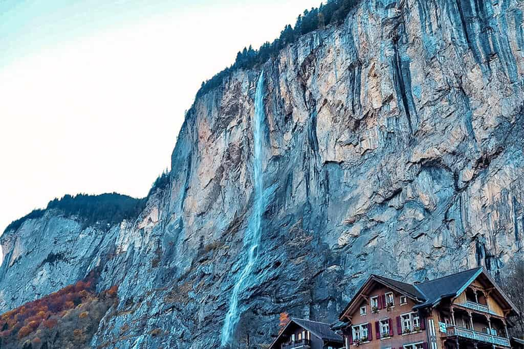 Staubbach Falls- beautiful waterfall in Switzerland