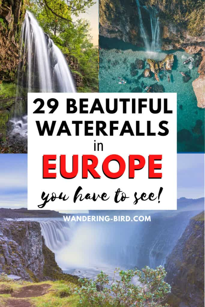 Looking for the prettiest waterfalls in Europe? Wondering which are the best waterfalls to visit? Did you know there are waterfalls in Europe you can SWIM in? Here are 29 of the most beautiful waterfalls in Europe- plus MAP so you can find them easily!