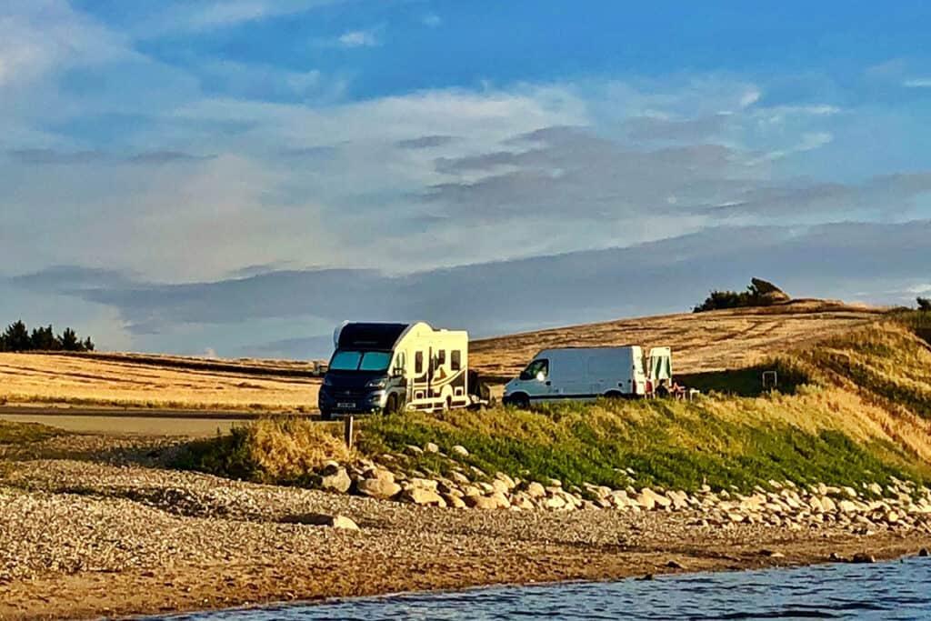 motorhome and campervan wild camping in Denmark, Europe
