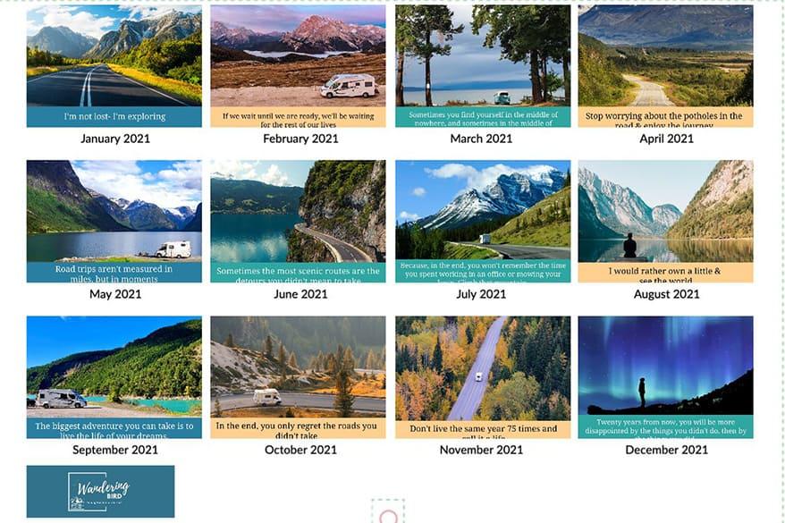 Road Trip Calendar 2021