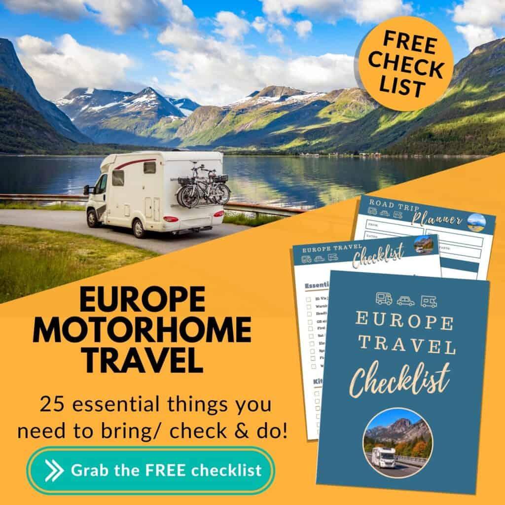 Europe Motorhome travel checklist- FREE