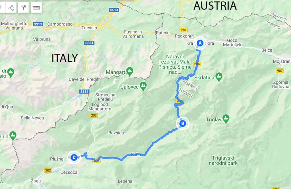 Map of the Vršič Pass and driving route