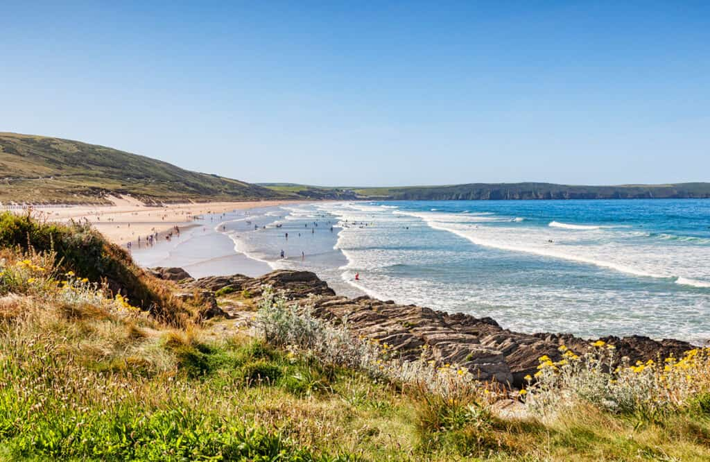Woolacombe Bay- one of the best places to visit on a Devon road trip for a fun day at the beach