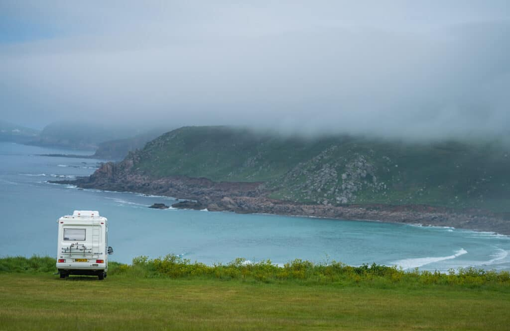 Motorhome camping at Sennen Cove on a UK motorhome holiday