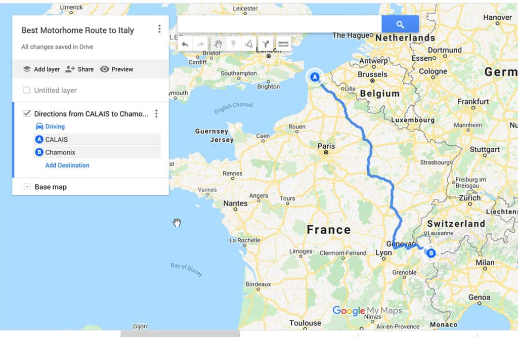 Best Motorhome route to Italy through France- Calais to Chamonix Tunnel and Italian Border
