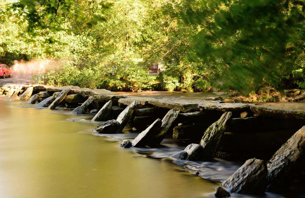 Tarr Steps- one of the best places to visit on a Devon road trip for a fun day out.