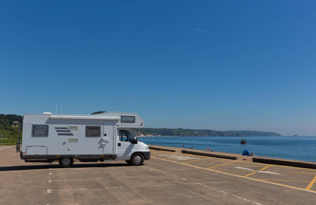 Motorhome parking at Slapton Sands, Devon- UK motorhome holiday destination and route