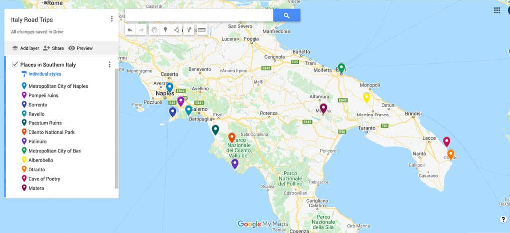 Southern Italy Road Trip Map