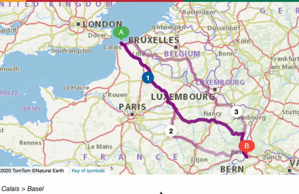 Motorhome Routes- UK to Switzerland