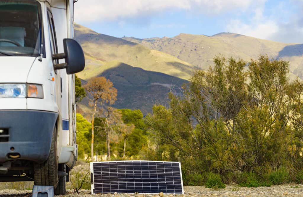 Motorhome using solar power to charge the leisure battery