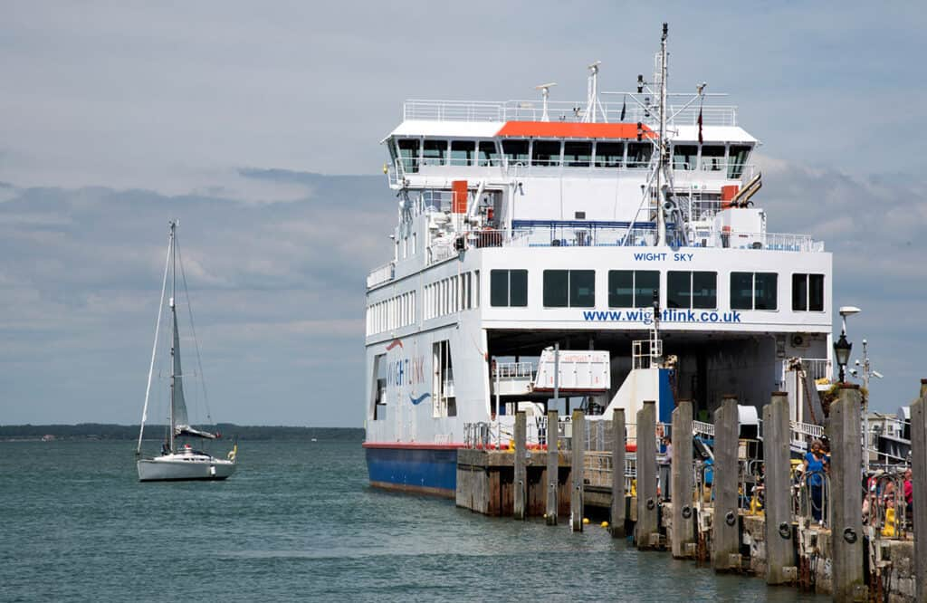 Isle of Wight ferry-  Wightlink car and motorhome ferry at Yarmouth