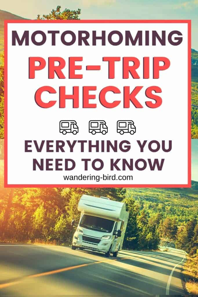 Planning a motorhome, camper or RV trip? Here's a free motorhome departure checklist and pre-trip checks for motorhomes, campervans and RVs- FREE PDF download motorhome departure checklist