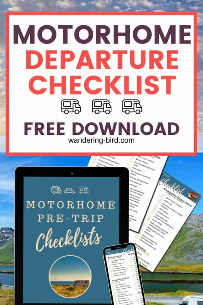 Planning a motorhome, camper or RV trip? Here's a free motorhome departure checklist and pre-trip checks for motorhomes, campervans and RVs- FREE PDF download motorhome departure checklist |