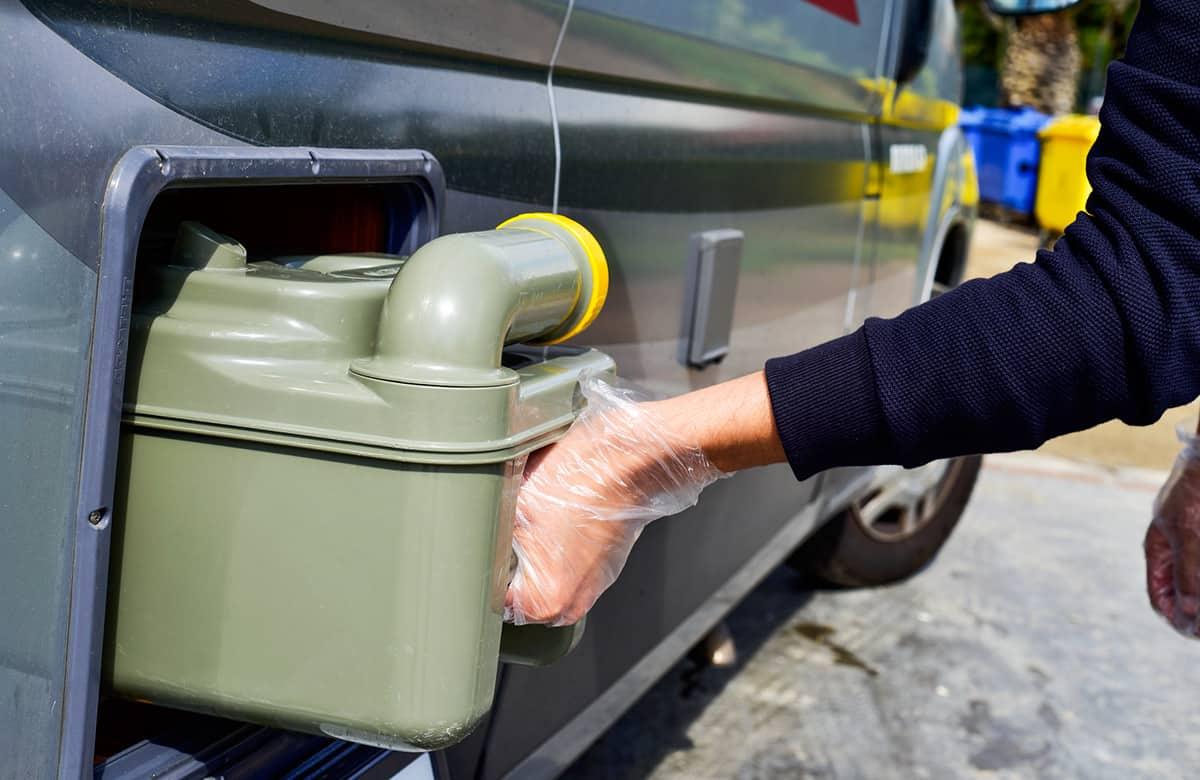 Emptying motorhome campervan toilet cassette in the UK